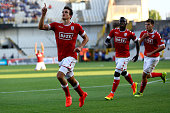 Ivan Santini of Standard Liege celebrates the first goal during the Supercup match between Club Brugge and Standrad Liege at JanBreydelStadium on...