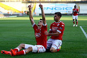 Ivan Santini of Standard Liege celebrates the first goal with Dino Arslanagic during the Supercup match between Club Brugge and Standrad Liege at...
