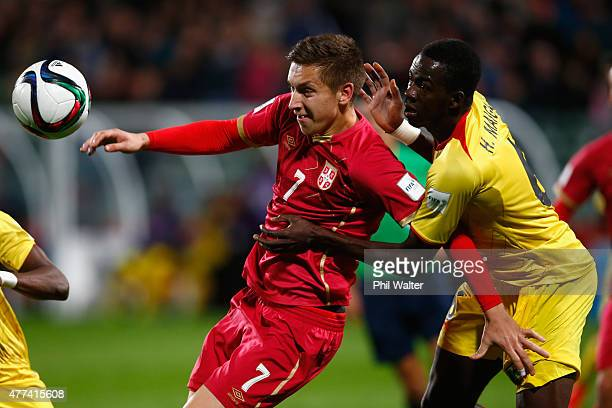 Ivan Saponjic of Serbia is tackled by Hamidou Maiga of Mali during the FIFA U20 World Cup Semi Final match between Serbia and Mali at North Harbour...