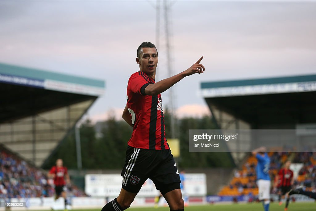 Ivan Schranz of Spartak Trnava celebrates scoring his second goal during the UEFA Europa League Third Qualifying Round, First Leg match between St Johnstone and Spartak Trnava, at McDiarmid Park on July 31, 2014 Perth, Scotland.