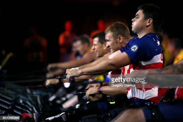 Ivan Sears of the United States and Scott Meenagh of the United Kingdom compete in the Indoor Rowing Men's IR4 Four Minute Endurance Final during the...