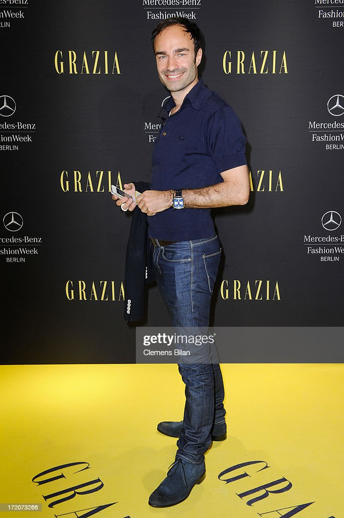 Ivan Strano attends the Mercedes-Benz Fashion Week Berlin Spring/Summer 2014 Preview Show by Grazia at the Brandenburg Gate on July 1, 2013 in Berlin, Germany.