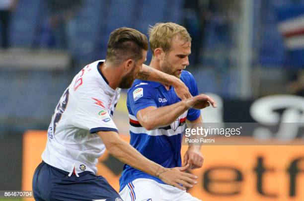 Ivan Strinic and Mariano Izco during the Serie A match between UC Sampdoria and FC Crotone at Stadio Luigi Ferraris on October 21 2017 in Genoa Italy