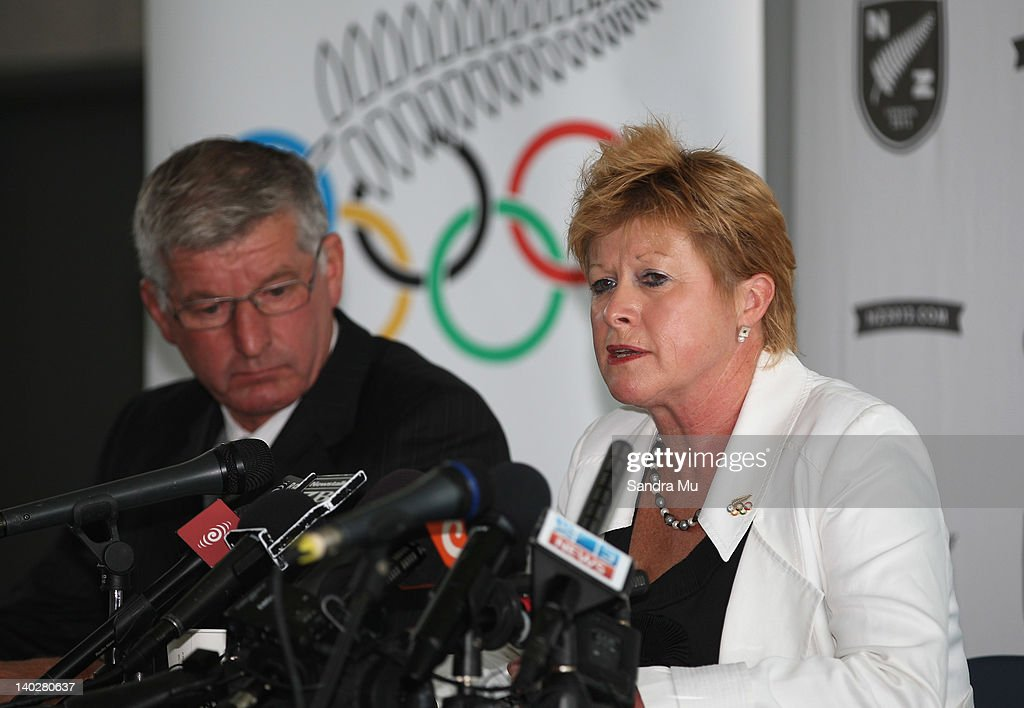 Ivan Sutherland, Chairman of New Zealand Rowing (L) and Kereyn Smith, Secretary General and selector of the New Zealand Olympic Committee speak during a press conference to announce the New Zealand 2012 rowing team at Lake Karapiro on March 2, 2012 in Cambridge, New Zealand.