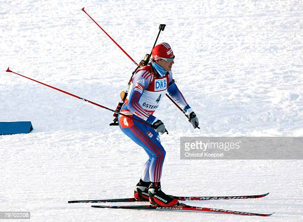Ivan Tcherezov of Russia skies during the Mens 125 km pursuit of the IBU Biathlon World Championships on February 10 2008 in Ostersund Sweden