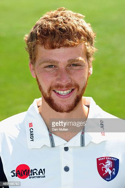 Ivan Thomas of Kent poses during the Kent CCC Photocall on April 10 2015 in Canterbury England