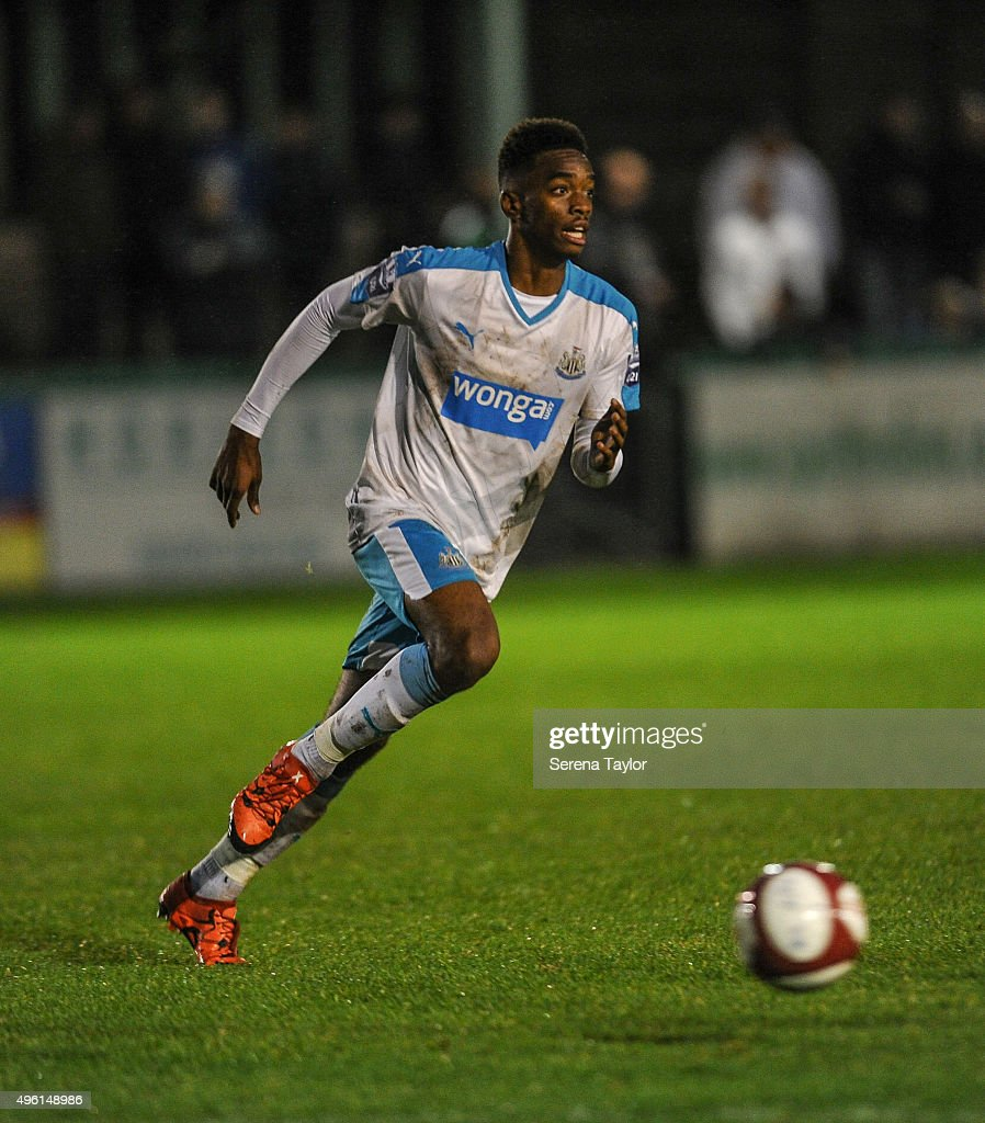 Ivan Toney of Newcastle runs with the ball during The Northumberland Senior Cup match between Blyth Spartans and Newcastle United at Croft Park on November 7, 2015, in Blyth, England.