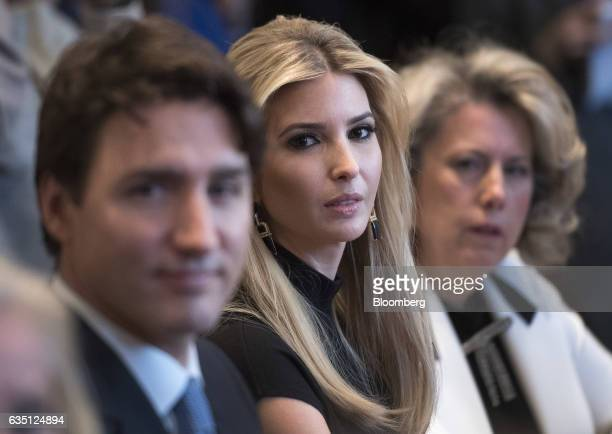 Ivan Trump daughter of US President Donald Trump center listens during a roundtable discussion on the advancement of women business leaders with...