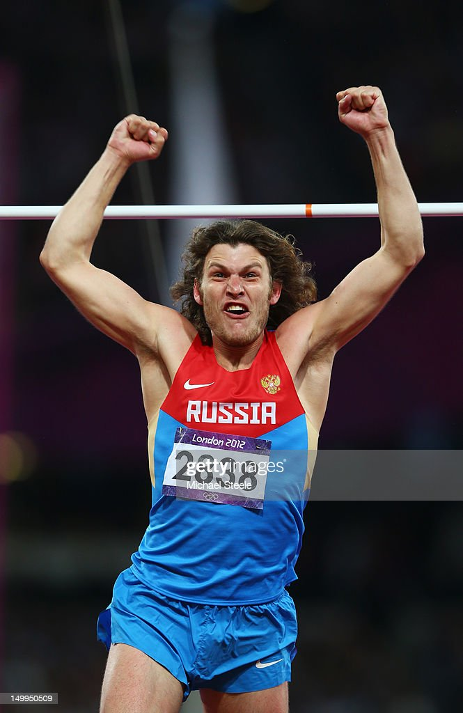 <a gi-track='captionPersonalityLinkClicked' href=/galleries/search?phrase=Ivan+Ukhov&family=editorial&specificpeople=4129580 ng-click='$event.stopPropagation()'>Ivan Ukhov</a> of Russia celebrates winning gold in the Men's High Jump Final on Day 11 of the London 2012 Olympic Games at Olympic Stadium on August 7, 2012 in London, England.