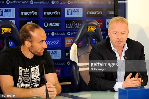 Ivan Vargic and team manager Igli Tare attends a press conference to introduce SS Lazio new signings on September 9 2016 in Rome Italy