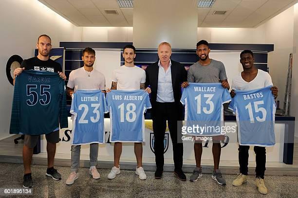 Ivan Vargic Moritz Leitner Luis Alberto team manager Igli Tare Dos Santos Wallace and Jacinto Bastos attend a press conference to introduce SS Lazio...