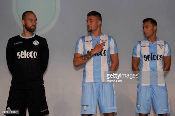 Ivan Vargic Sergej Milinkovic Savic and Stefan Radu of SS Lazio pose during the SS Lazio unveiling new kit at Spazio Novecento on July 6 2017 in Rome...