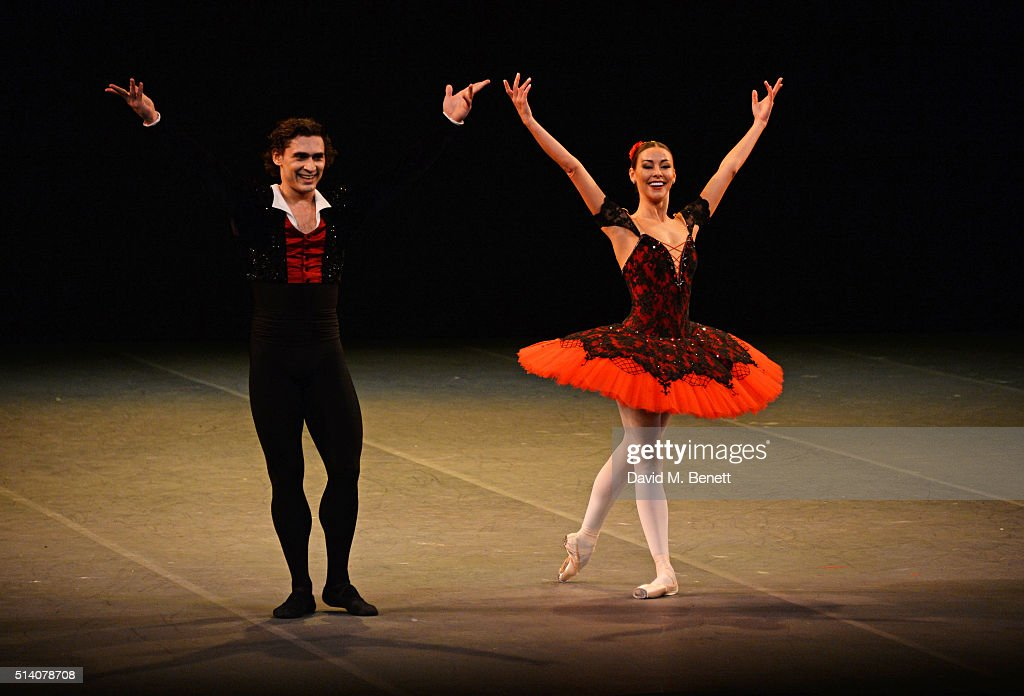 Ivan Vasiliev (L) and Kristina Kretova bow at the curtain call during the Ave Maya Ballet Gala in memory of <a gi-track='captionPersonalityLinkClicked' href=/galleries/search?phrase=Maya+Plisetskaya&family=editorial&specificpeople=763156 ng-click='$event.stopPropagation()'>Maya Plisetskaya</a> at The London Coliseum on March 6, 2016 in London, England.