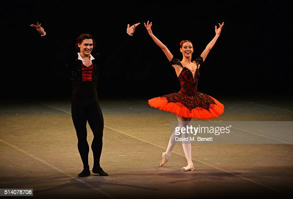 Ivan Vasiliev and Kristina Kretova bow at the curtain call during the Ave Maya Ballet Gala in memory of Maya Plisetskaya at The London Coliseum on...