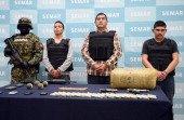 Ivan Velazquez Caballero aka 'Z 50' or 'El Taliban' senior leader in the Zetas drug cartel and member of the Gulf cartel is presented to the press at...