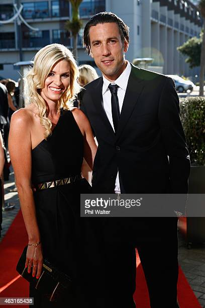 Ivan Vicelich and Marisa Vicelich arrive at the 2015 Halberg Awards at Vector Arena on February 11 2015 in Auckland New Zealand