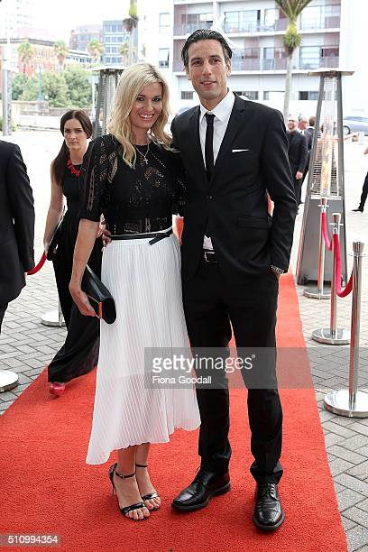 Ivan Vicelich and wife Marissa arrive at the 2016 Halberg Awards at Vector Arena on February 18 2016 in Auckland New Zealand