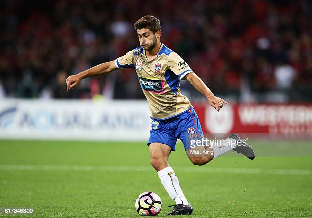 Ivan Vujica of the Jets controls the ball during the round three ALeague match between the Western Sydney Wanderers and the Newcastle Jets at...