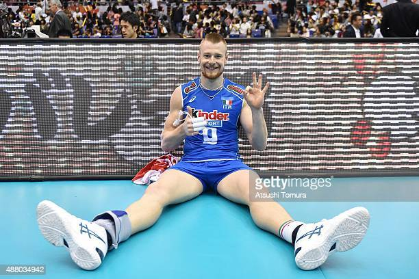 Ivan Zaytsev of Italy poses after winning the match against Japan during the FIVB Men's Volleyball World Cup Japan 2015 at the Hiroshima Green Arena...