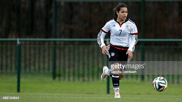 Ivana Fuso of Germany runs with the ball during the U15 girl's international friendly match between Belgium and Germany on November 28 2015 in Tubize...