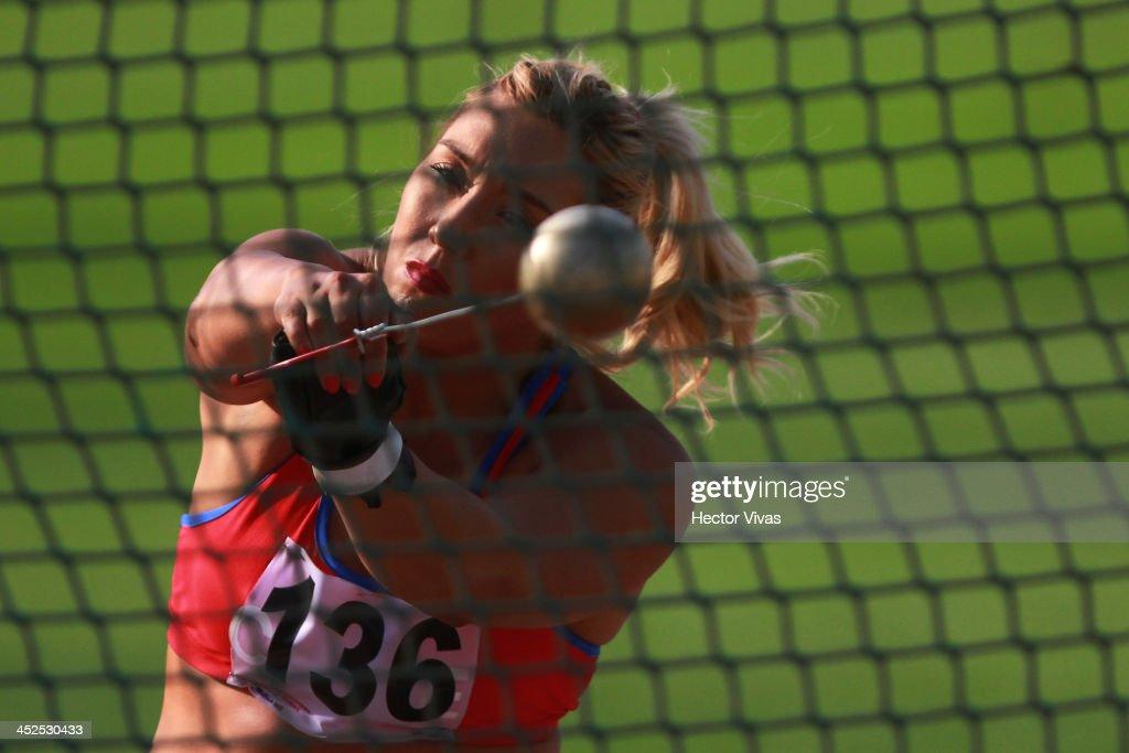 Ivana Gallardo of Chile competes in in men's shot put as part of the XVII Bolivarian Games Trujillo 2013 at Chan Chan Stadium on November 29, 2013 in Trujillo, Peru.