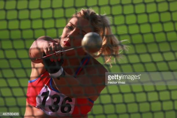 Ivana Gallardo of Chile competes in in men's shot put as part of the XVII Bolivarian Games Trujillo 2013 at Chan Chan Stadium on November 29 2013 in...