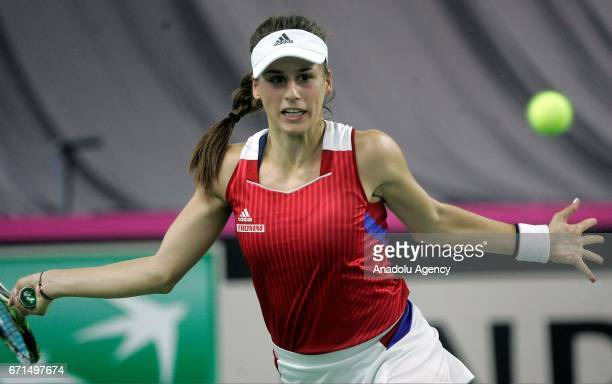 Ivana Jorovic of Serbia is in action against Daria Gavrilova of Australia during their Fed Cup World Group II PlayOff match at Kristalna Dvorana...