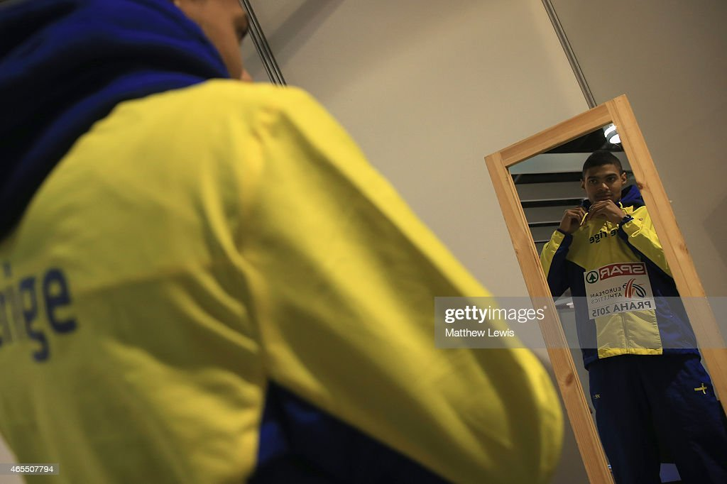 Ivana Michel Torneus of Sweden gets ready for the medal ceremony, after winning Gold in the Mens Long Jump Final during day two of the 2015 European Athletics Indoor Championships at O2 Arena on March 7, 2015 in Prague, Czech Republic.
