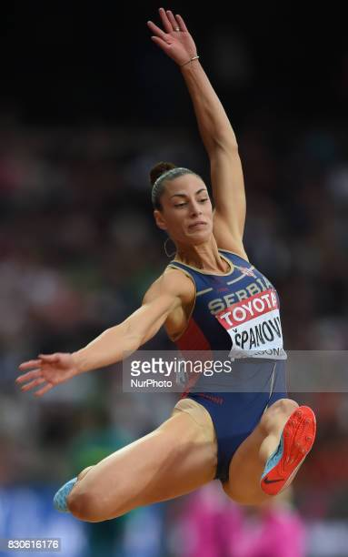 Ivana panovic of Serbia jumps in the long jump final in London at the 2017 IAAF World Championships athletics at the London Stadium in London on...