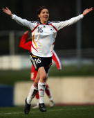 Ivana Rudelic of Germany celebrates scoring the third goal during the Women's U17 Euro qualifier match between Germany and Switzerland at the...