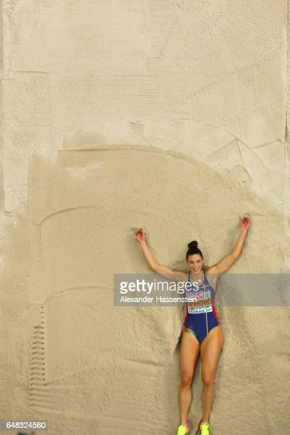 Ivana Spanovic of Serbia celebrates victory after her last jump at the Women's Long Jump final on day three of the 2017 European Athletics Indoor...