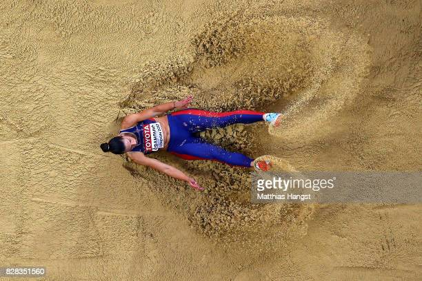 Ivana Spanovic of Serbia competes in the Women's Long Jump qualification during day six of the 16th IAAF World Athletics Championships London 2017 at...