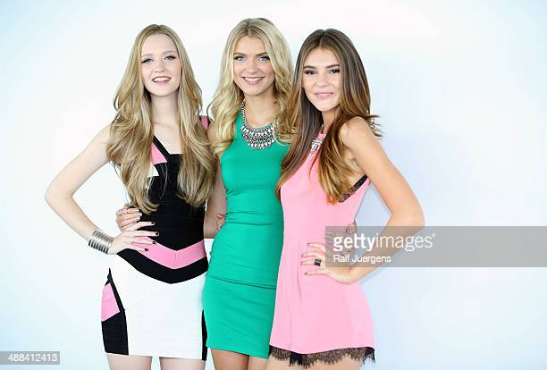 Ivana Teklic Jolina Fust and Stefanie Giesinger attend the Germany's Next Topmodel Finalists Photocall at KoelnSKY on May 06 2014 in Cologne Germany