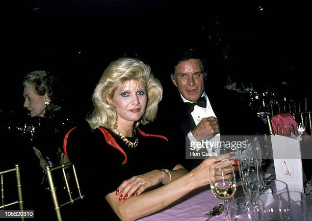 Ivana Trump and Cliff Robertson during 1985 Palm Beach Ball at Sotheby's in New York City New York United States