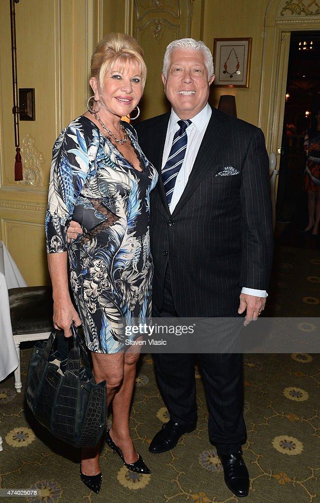Ivana Trump and designer Dennis Basso attend 'High Tea High Fashion with Dennis Basso' benefiting New York Botanical Garden at Hotel Plaza Athenee on...