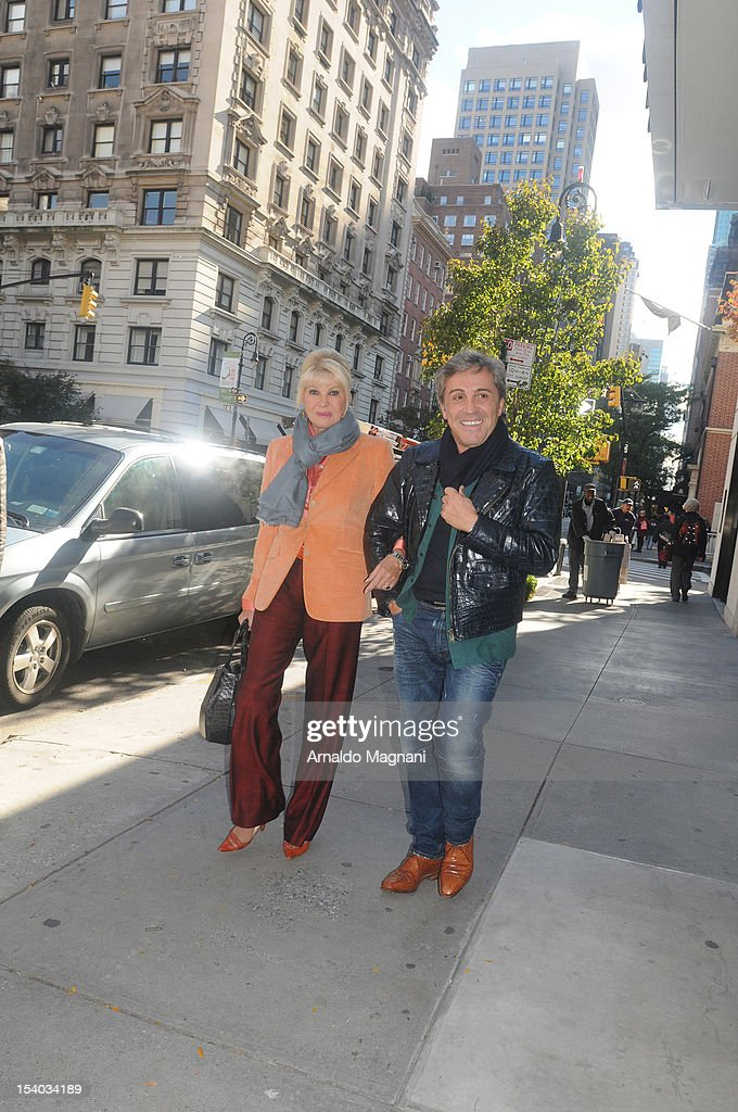 <a gi-track='captionPersonalityLinkClicked' href=/galleries/search?phrase=Ivana+Trump&family=editorial&specificpeople=159374 ng-click='$event.stopPropagation()'>Ivana Trump</a> and Michael Kennedy are seen near Amarant Restaurant on October 12, 2012 in New York City.
