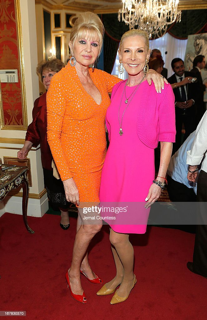 Ivana Trump and Michele Herbert attend the exhibition of artwork featuring Giovanni Perrone and hosted by Ivana Trump and MarkAntonio Rota on April 30, 2013 in New York City.