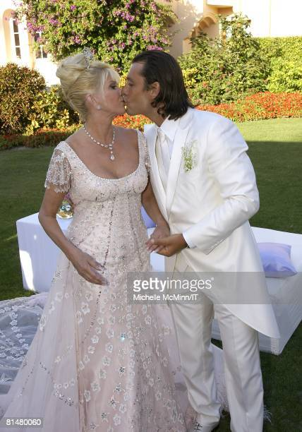 RATES Ivana Trump and Rossano Rubicondi after their wedding at the MaraLago Club on April 12 2008 in Palm Beach Florida Ivana Trumps jewelry is by...