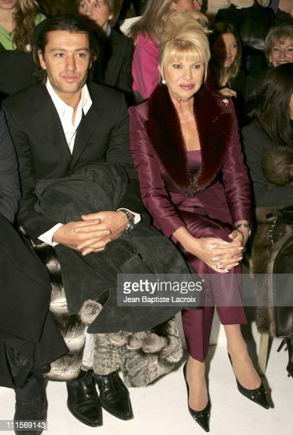 Ivana Trump and Rossano Rubicondi during Paris Fashion Week Haute Couture Spring/Summer 2005 Stephane Saunier Front Row at Intercontinental Hotel in...