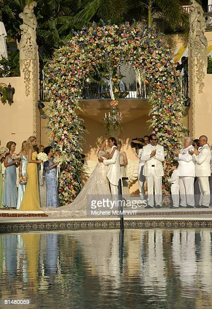 RATES Ivana Trump and Rossano Rubicondi with their wedding party during their wedding at the MaraLago Club on April 12 2008 in Palm Beach Florida...