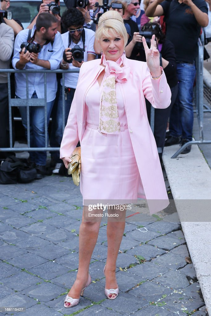 Ivana Trump attends the Valeria Marini And Giovanni Cottone wedding at Ara Coeli on May 5, 2013 in Rome, Italy.