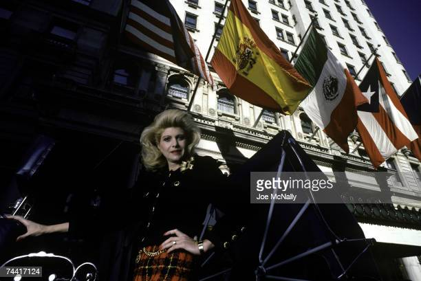 Ivana Trump former Olympic athelete and model and wife of real estate mogul Donald Trump poses in front of the Plaza Hotel on August 1987 in New York...