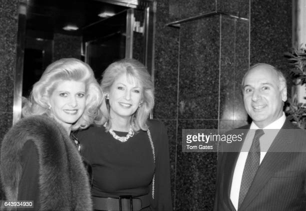 LR Ivana Trump Lauren Veronis and John Veronis attend a party at 'Chumet' to celebrate their 'Renaissance' jewelry line in October 1988 in New York...