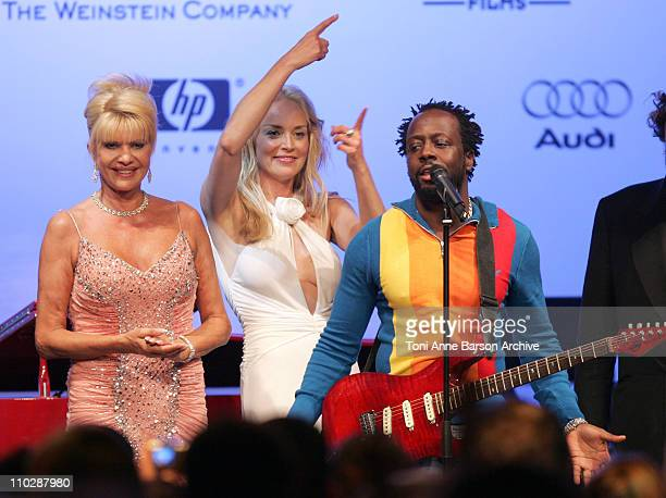 Ivana Trump Sharon Stone and Wyclef Jean during amfAR's Cinema Against AIDS Benefit in Cannes Presented by Bold Films Palisades Pictures and The...