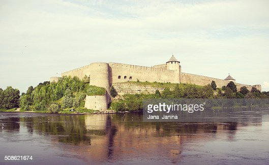 Ivangorod Fortress on the Russian bank of the Narva River. : Stock Photo