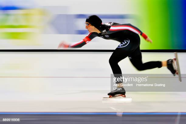 Ivanie Blondin of Canada competes in the ladies 3000 meter final during day 3 of the ISU World Cup Speed Skating event on December 10 2017 in Salt...