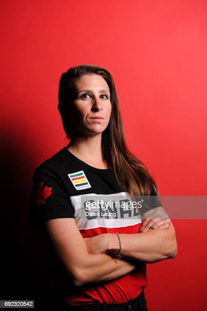 Ivanie Blondin poses for a portrait during the Canadian Olympic Committee Portrait Shoot on June 4 2017 in Calgary Alberta Canada