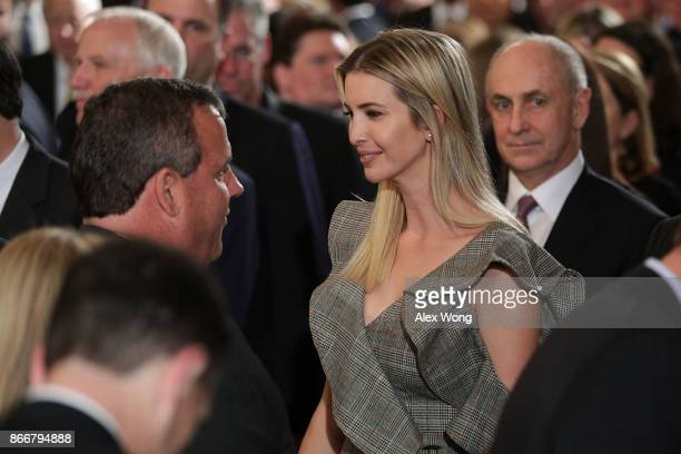 Ivanka Trump Adviser and daughter of President Donald Trump greets New Jersey Governor Chris Christie during an event highlighting the opioid crisis...