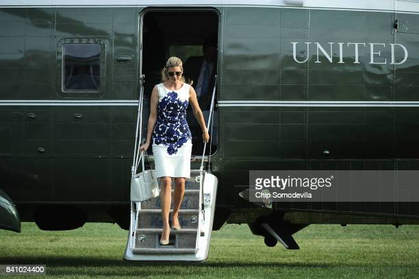Ivanka Trump advisor and daughter of US President Donald Trump steps off Marine One on the South Lawn after returning to the White House August 30...