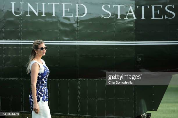 Ivanka Trump advisor and daughter of US President Donald Trump walks across the South Lawn after returning to the White House August 30 2017 in...
